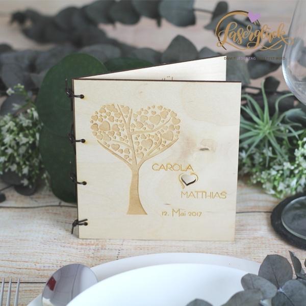 Klappmenü kleine fein mit Herzbaum