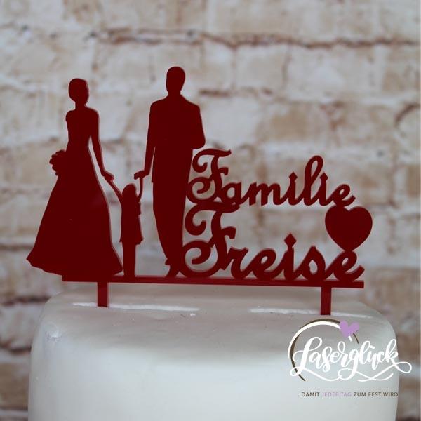 Cake Topper Familie Freise Dunkelrot