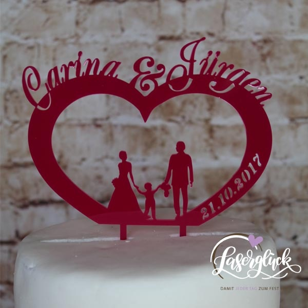 Cake Topper Herz mit Familie Pink