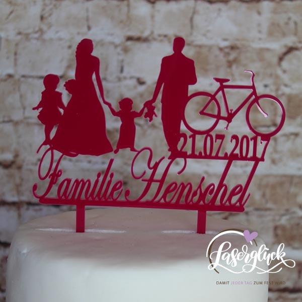 Cake Topper Familie Fahrrad Pink