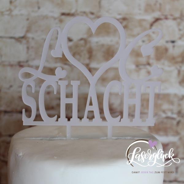 Cake Topper Schacht Satiniert Weiß