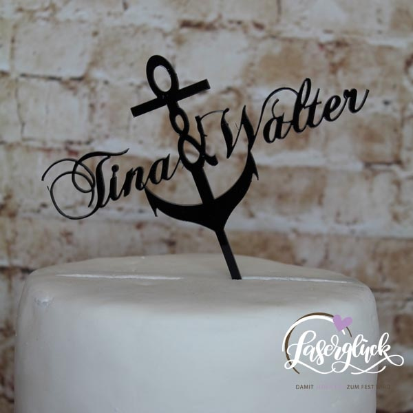 Cake Topper Anker mit Namen Schwarz