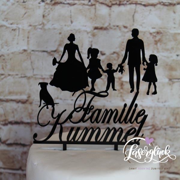 Cake Topper Familie mit 3 Töchter und Labrador Schwarz