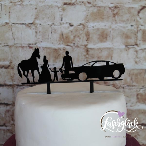 Cake Topper Familie mit Junge Auto und Pferd Schwarz