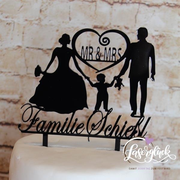 Cake Topper Familie mit Junge und Herz Schwarz