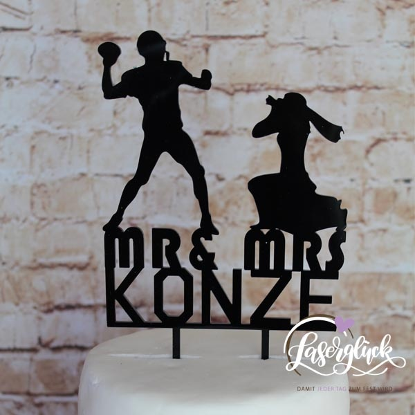 Cake Topper Football und Fotografin Mr & Mrs Schwarz