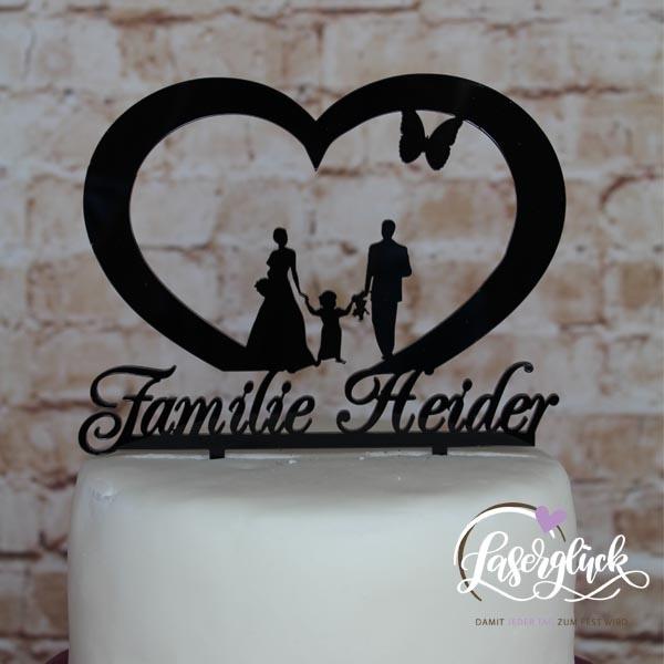 Cake Topper Herz mit Paar und Mädchen Schwarz