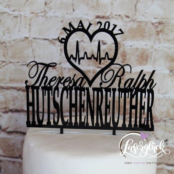 Cake Topper Herzschlag und Name Schwarz