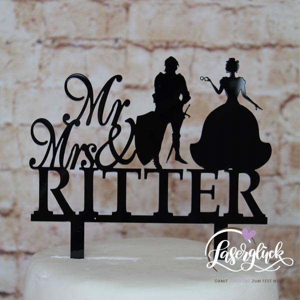 Cake Topper Mr & Mrs Ritter Schwarz