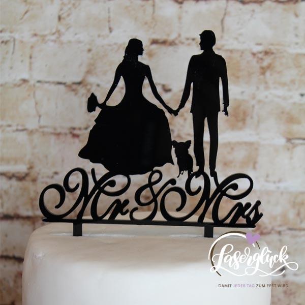 Cake Topper Mr & Mrs mit Chiwawa Schwarz