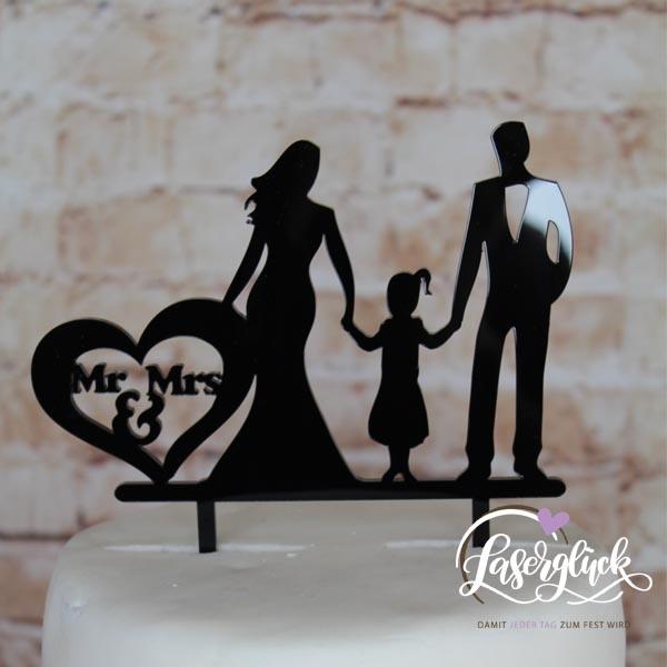 Cake Topper Mr & Mrs mit Mädchen Schwarz