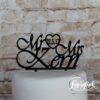 Cake Topper Mr & Mrs mit Namen und Herz Schwarz