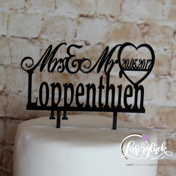 Cake Topper Mrs & Mr mit Namen Schwarz