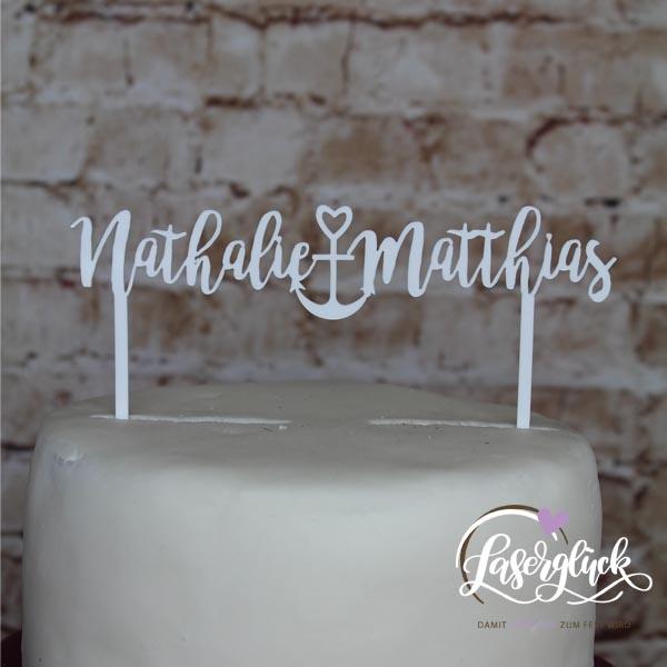 Cake Topper Namen mit Anker Weiß