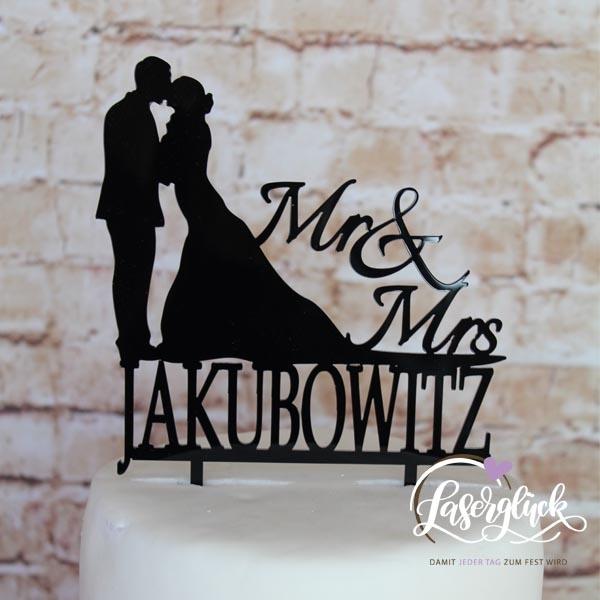 Cake Topper Paar Mr & Mrs mit Namen Schwarz