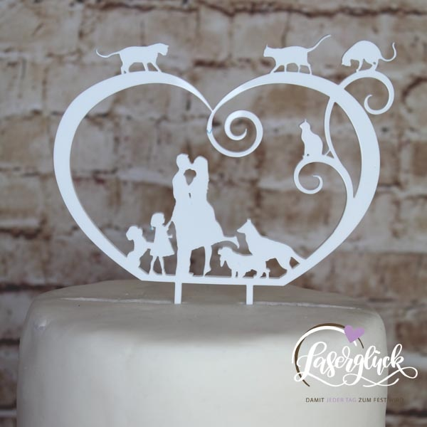 Cake Topper Paar im Herz mit Mädchen 3 Hunde und 3 Katzen Weiß