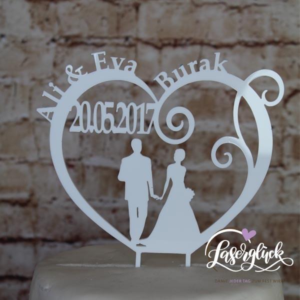Cake Topper Paar im Herz mit Name Weiß