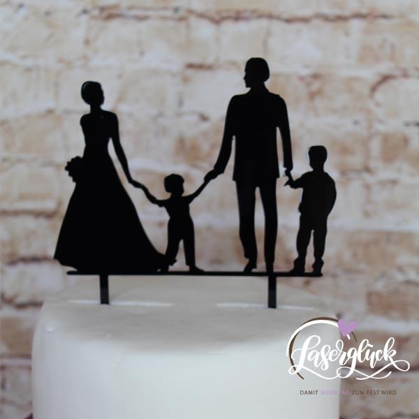 Cake Topper Paar mit 2 Jungs Schwarz