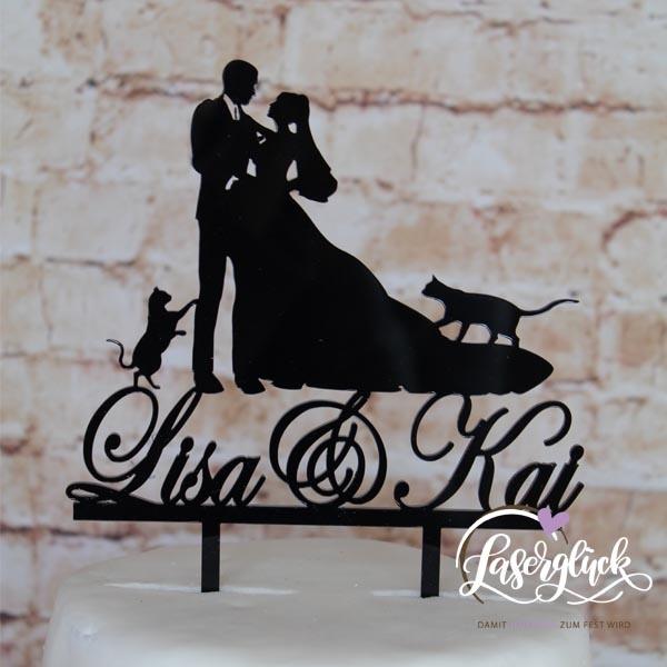 Cake Topper Paar mit 2 Katzen Schwarz