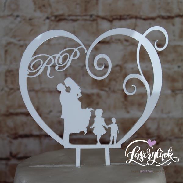 Cake Topper Paar mit 2 Kinder im Herz Weiß