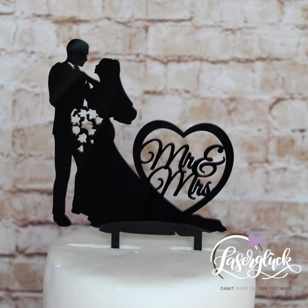Cake Topper Paar mit Blumenstrauß und Herz Schwarz