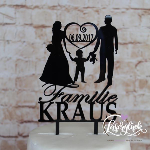 Cake Topper Paar mit Junge Herz und Name Schwarz