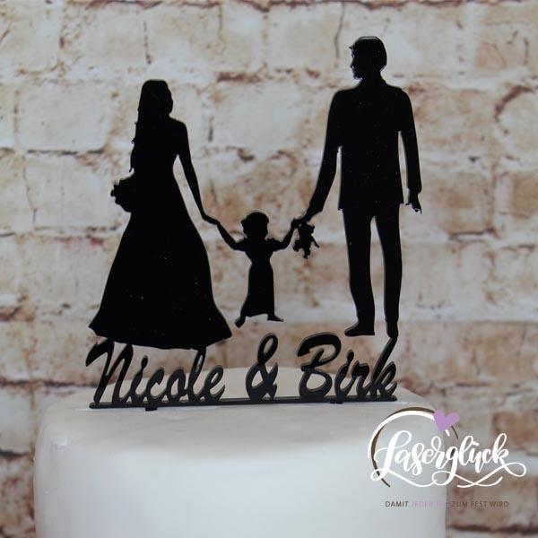 Cake Topper Paar mit Mädchen und Vornamen Schwarz