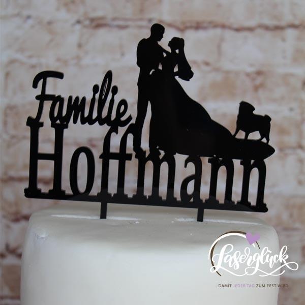 Cake Topper Paar mit Mops und Name Schwarz