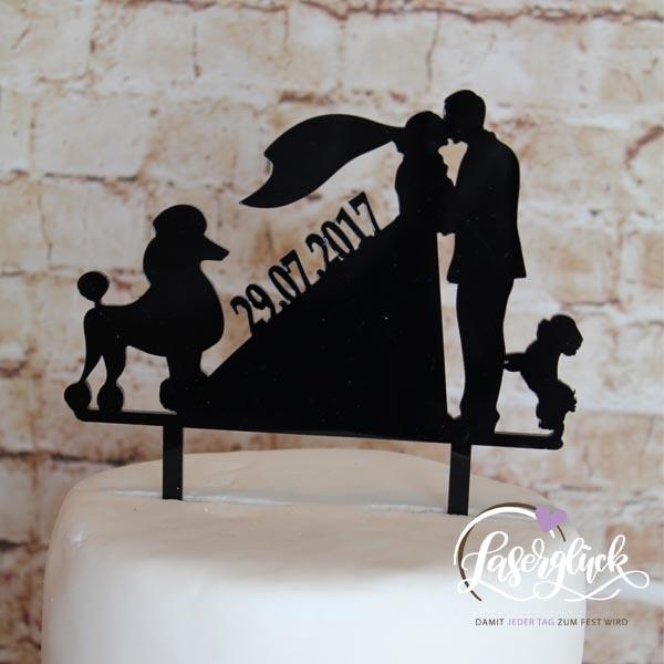 Cake Topper Paar mit Pudel Schwarz