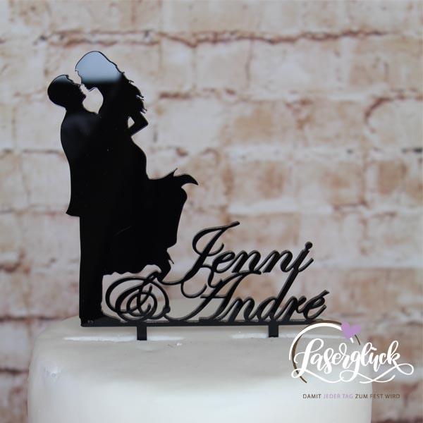 Cake Topper Paar mit Vornamen Schwarz