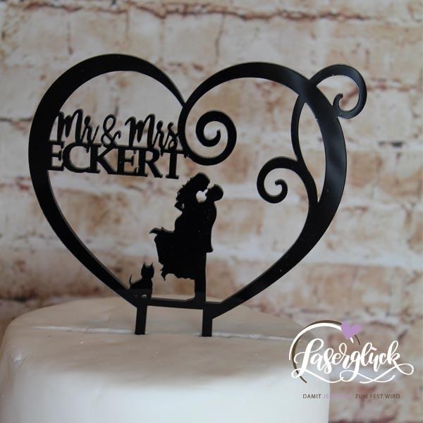 Cake Topper Paar mit Yorkshire im Herz Schwarz