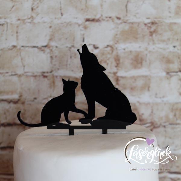 Cake Topper Wolf mit Katze Schwarz