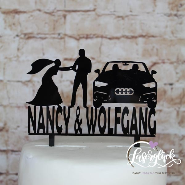 Caketopper mit Paar und Audi Schwarz