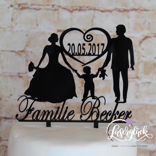 Cake Topper Familie Becker Schwarz