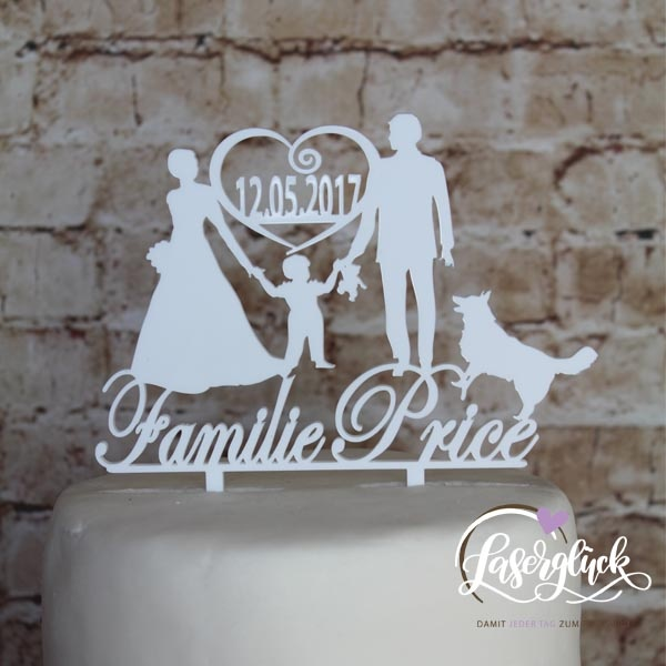 Cake Topper Paar mit Junge und Schäferhund Weiß