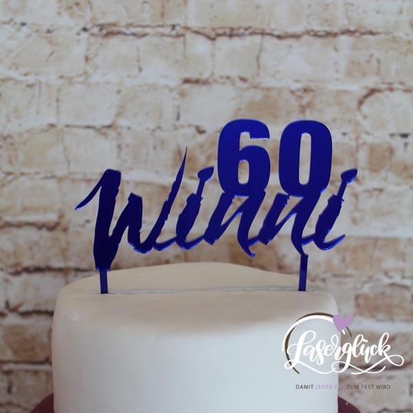Cake Topper 60 mit Name Blau verspiegelt