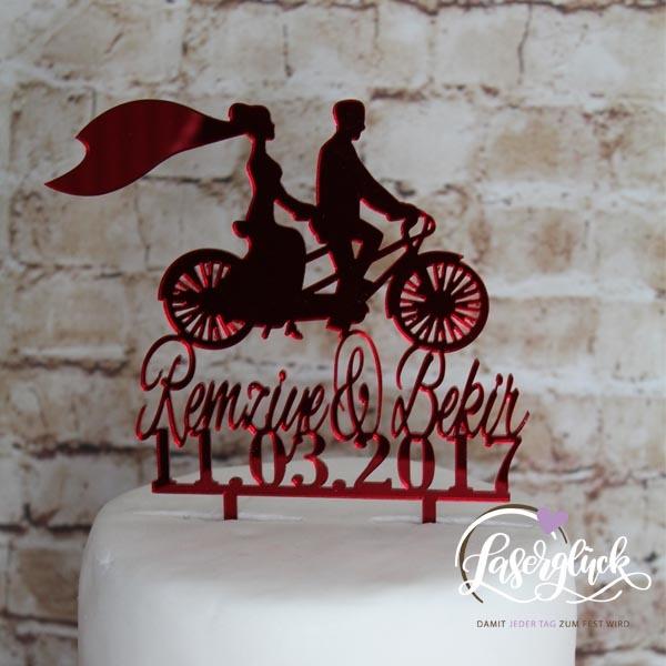 Cake Topper Brautpaar auf Fahrrad Rot verspiegelt