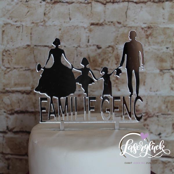 Cake Topper Familie mit 2 Mädchen Silber verspiegelt