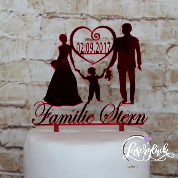 Cake Topper Familie mit Junge Rot verspiegelt