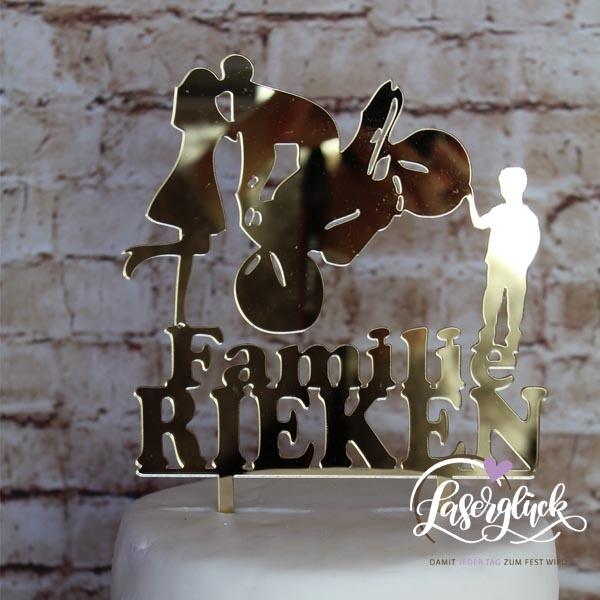 Cake Topper Familie mit Motorrad Gold verspiegelt
