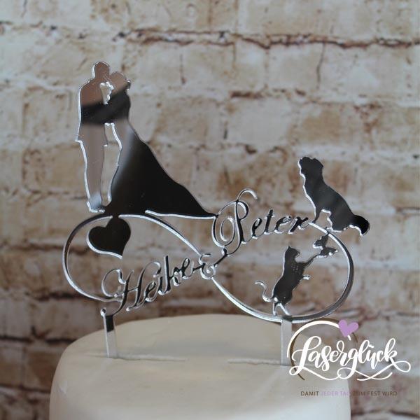 Cake Topper Infinity mit Paar Hund und Katze Silber verspiegelt