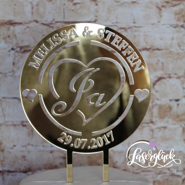 Cake Topper Logo Rund Ja Gold verspiegelt