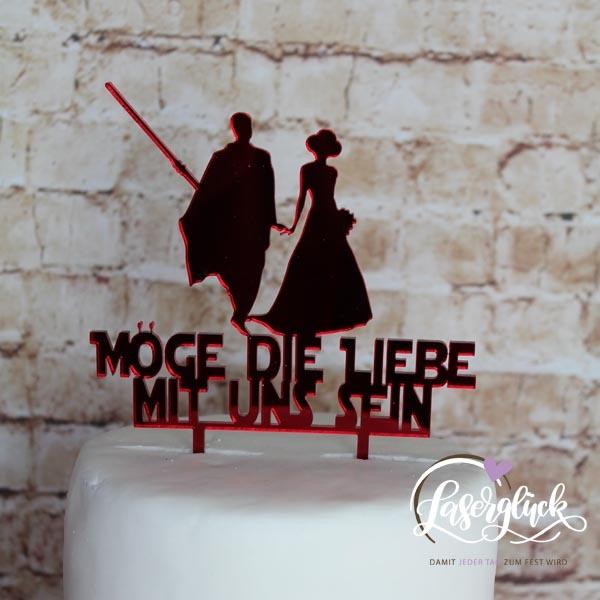 Cake Topper Möge die Liebe mit dir sein Rot verspiegelt