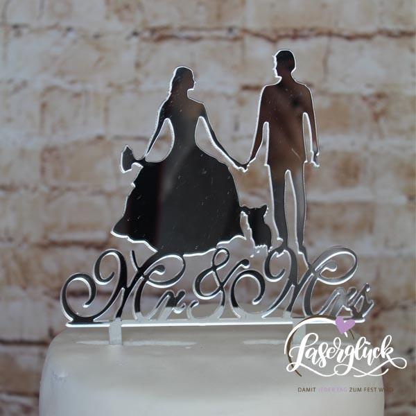 Cake Topper Mr & Mrs Paar mit Chiwawa Silber verspiegelt