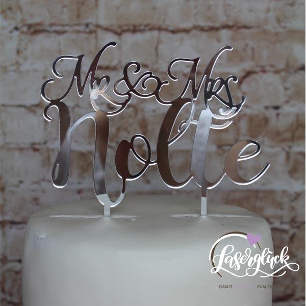 Cake Topper Mr & Mrs mit Namen silber verspiegelt