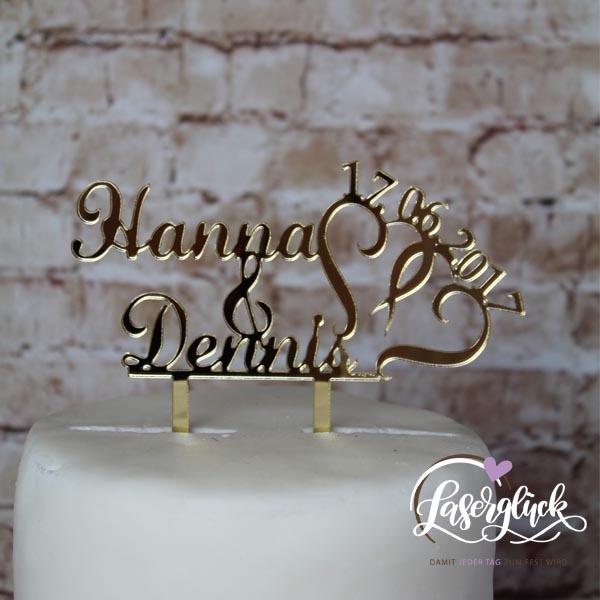 Cake Topper Namen mit Herz Gold verspiegelt