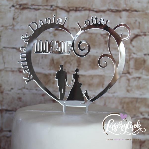 Cake Topper Paar im Herz Silber verspiegelt