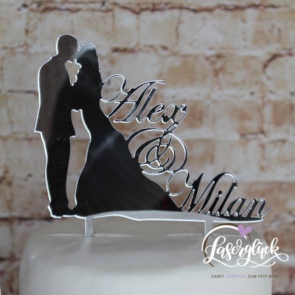 Cake Topper Paar mit Name Silber verspiegelt