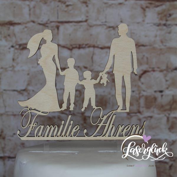 Cake Topper Familie mit 2 Kinder Holz