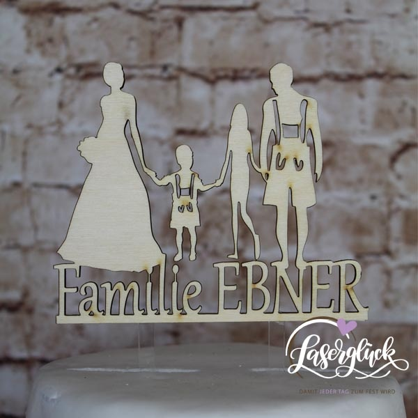 Cake Topper Familie mit 2 Kindern in Tracht Holz